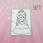 Princess 2 quiet book coloring page ITH embroidery design 5x7 hoop